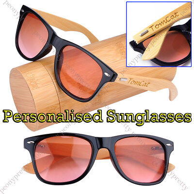 Personalised Engraving Bamboo Wood 100% UV400 lens Sunglasses Bridesmaid Gift