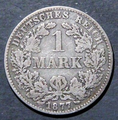 1877-B GERMANY 1 Mark SILVER Empire KM7 KEY RARE DATE/MINT GRADE: VG/F A1718