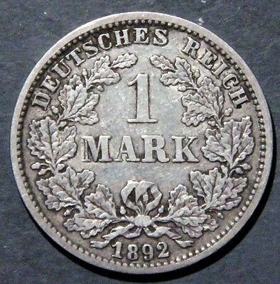 1892-G GERMANY 1 Mark SILVER Empire KM14 Semi-Key Date GRADE: F+/VF A1717