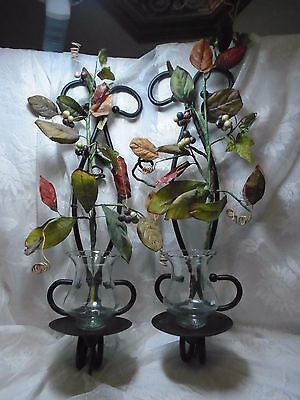 Home Interiors Wall Decor  Large Black Metal Candles Holders Pair of Sconces