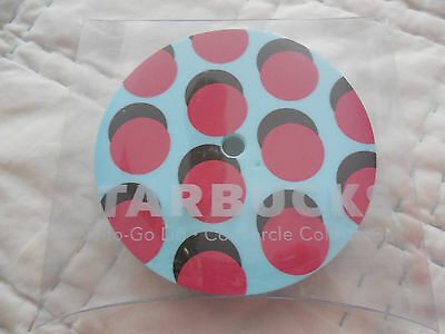 teal pink polka dots plastic cold to go lid * NEW * Starbucks