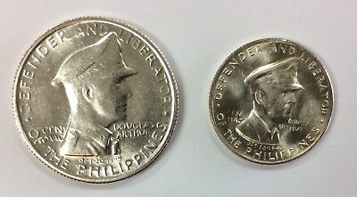 1947 S Uncirculated Philippines MacArthur One Peso & Fifty Centavos Coin Set