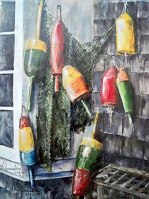 Robert W Connaway Signed Art Print Of Lobster Buoys 2002