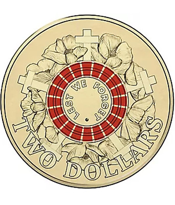 2015 Red Australian Anzac Two $2 Coin Two Dollar Uncirculated In 2 x 2 Holder