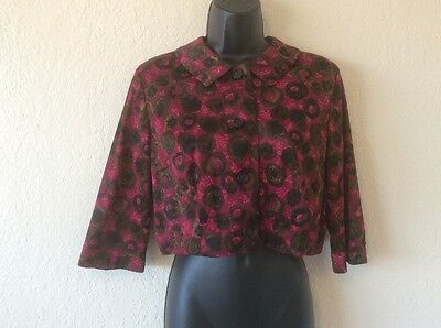 Vintage 50s Cropped jacket burgundy blouse - Patty Petite - B 38""