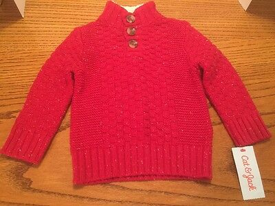 Cat & Jack Red Pull Over Knitted Sweater Nwt