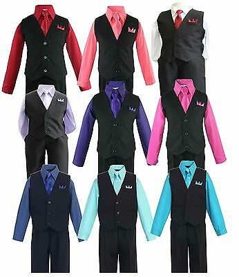 Formal Big Boys Solid Vest Set Dress Shirt Tie Pants Wedding Suit Outfit sz 5-20