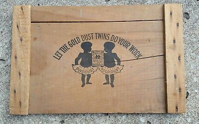 GOLD DUST TWINS Black Americana laundry soap crate lid vintage rare