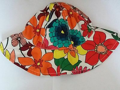 BNWT Girls NEXT Reversible Floral Hat 3 -9 months Summer/ Holiday/Sunhat/ New