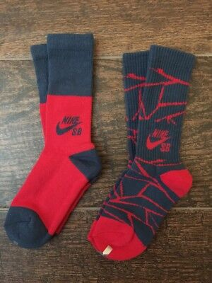 Nike Sb Youth Crew Skate Boarding Socks New -2 Pair- $18 Sz 5Y-7Y Blue Red