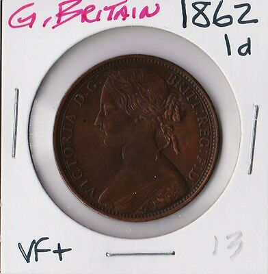 GREAT BRITAIN 1862 | PENNY 1d | VF+