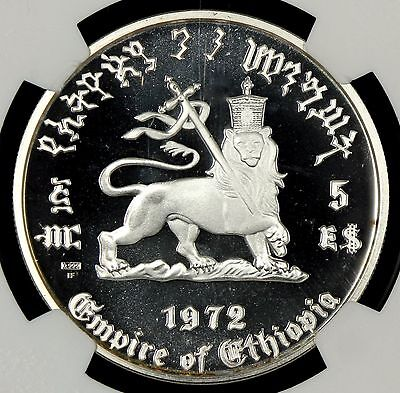 Ngc Pf68 Ultra Cameo 1972 Hf Ethiopia Silver $5 Haile Selassie I  Proof  (Bc05)