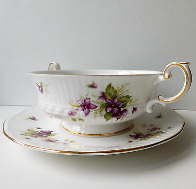 Violets soup cup bowl and saucer vintage Rosina Bone China Queens 3 available