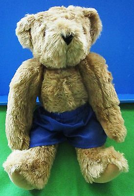 """Vermont Teddy Bear - 16""""  Brown Jointed Wearing Blue Boxer Shorts - Made Usa"""