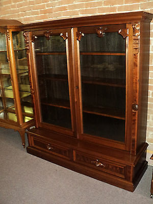 Walnut Two Door Victorian Renaissance Bookcase