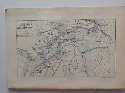 River Tyne With North & South Shields C1870 Antique Map, Original Atlas