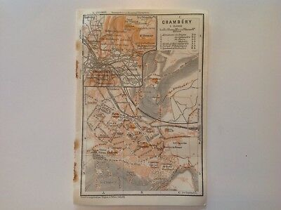 Chambery, Gare, France, 1914 Antique Map, Wagner & Debes, Atlas