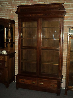 Tall Victorian Two Door Eastlake Walnut Stepback Bookcase