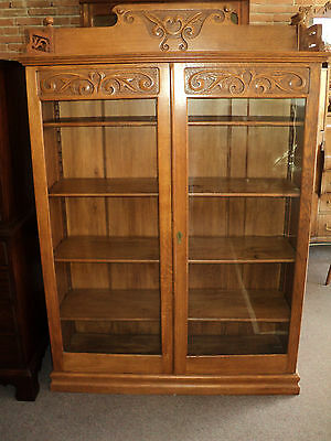 Antique Oak Two Door Bookcase w. Gallery