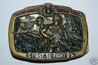 Vintage 1982 US Marine Corps FIRST TO FIGHT Brass Tone Solid Belt Buckle MARINES