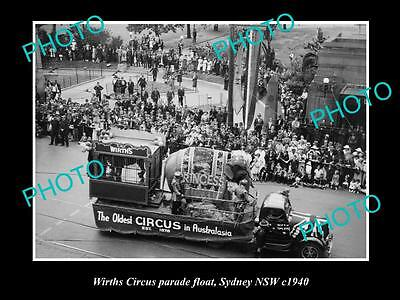 OLD LARGE HISTORIC PHOTO OF WIRTHS CIRCUS ELEPHANT PARADE FLOAT, SYDNEY c1938 2
