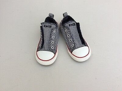 Converse All Star Blue White Red Toddler Size 10 Laceless Slip On Shoes
