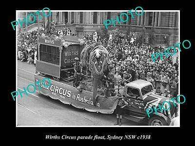 OLD LARGE HISTORIC PHOTO OF WIRTHS CIRCUS ELEPHANT PARADE FLOAT, SYDNEY c1938 1