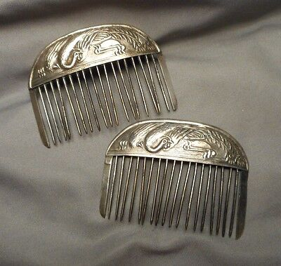 Pair of Antique Asian Silver Hair Combs - Embossed Peacock Motif on Arched Top