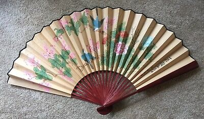 "Large Vintage 44 1/2"" By 25"" Chinese Folding Wall Fan Floral With Original Box"