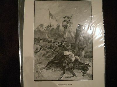 Custer's Last Fight Steel Engraving Print A.R. Ward