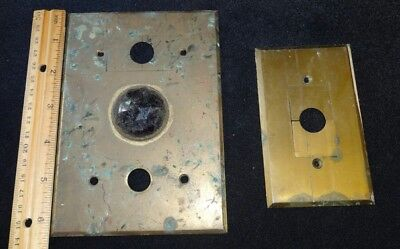 Two Antique Bryant Electric Co. Brass Jewelled Elevator Plates