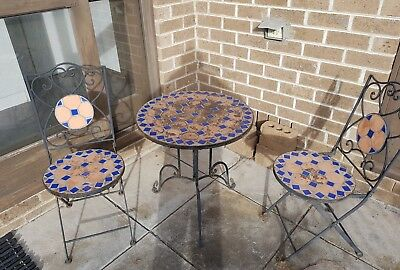 Wrought Iron Tiled Outdoor Table and Chairs