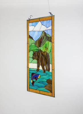 Tiffany Style Stained Glass Window Panel RV Door Insert / Hanging Suncatcher
