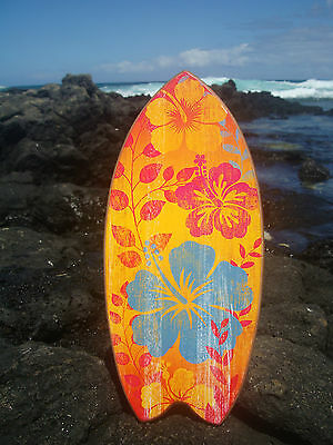 TROPICAL HAWAIIAN FLORAL ISLAND PRINT SURFBOARD SIGN Yellow Beach Home Decor NEW