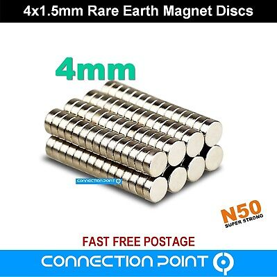 4mm x 1.5mm Rare Earth Magnets Round Discs N50 Super Strong Neodymium Small Tiny