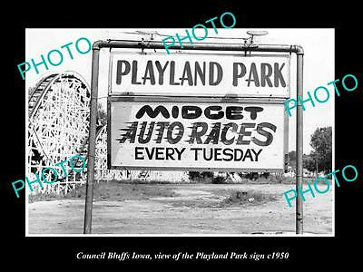 OLD LARGE HISTORIC PHOTO OF COUNCIL BLUFFS IOWA, THE PLAYLAND PARK SIGN c1950