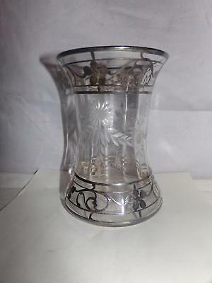 Antique Sterling Silver & Cut Glass Vase-Overlay-6 Inch-Nr!