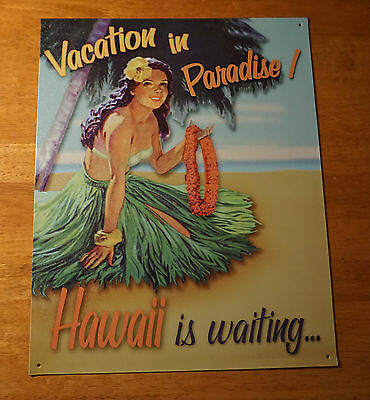 Vacation in Paradise Hula Girl Lei Grass Skirt Hawaii Beach Home Decor Sign NEW