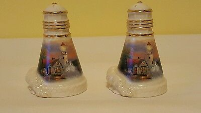 Lenox Thomas Kinkade Lighthouse  Beacon of Hope Salt Pepper Shaker Set  2002