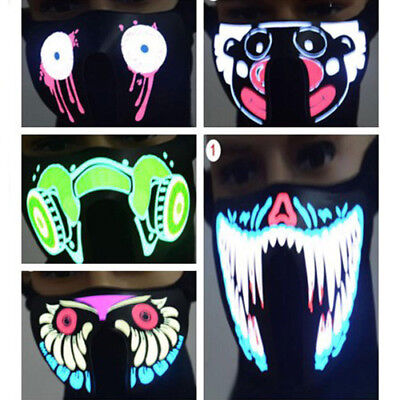 LED Luminous Flashing Face Light Up Dance Halloween Cosplay Mask Party
