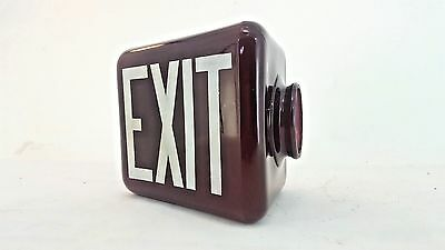 RED Vintage Triangle EXIT Sign Glass Wall Mount Lamp Globe Theater Art Deco