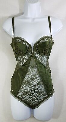 Victoria's Secret Women's Dark Green One Piece Teddy Lingerie Size-34B
