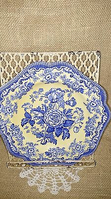 "Spode Blue Room Garden Collection ""British Flowers - Rosa"" Dinner Plate"