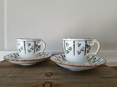 1950's Minton Pink And Purple Flower Teacup Set With Gold Trim / Made In England