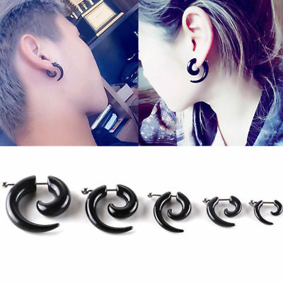 1PC Punk Women Men Black Stud Earring Fashion Ear Piercing Jewelry 3MM-8MM