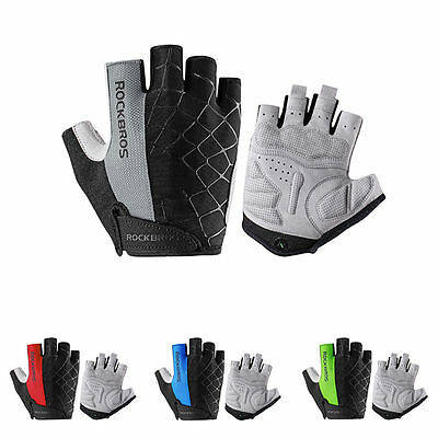 ROCKBROS Bicycle Half Finger Short Gloves Shockproof Breathable MTB Bike Gloves