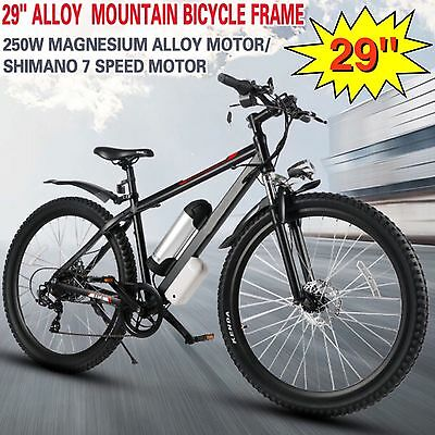 "Big 29"" 250W Electric Alloy Mountain Bike Shimano 7 Speed 36V 9Ah Lithium Ion"