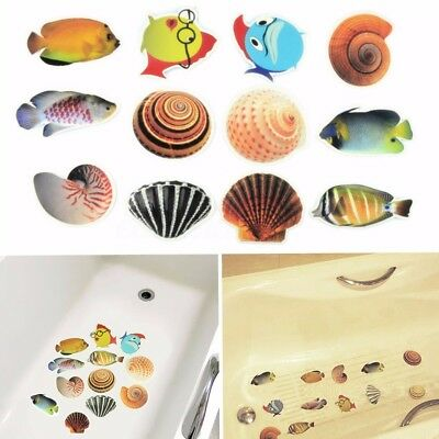 6X Bath Tub Shower Anti Skid Sticker Set Cartoon Fish Non-Slip Applique Decals