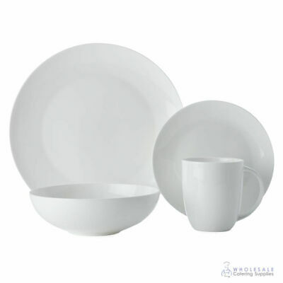 White Dinner Set 16 Pieces Maxwell & Williams Cashmere Coupe Setting Gift Boxed