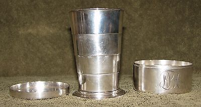 Rare Bailey Banks & Biddle Sterling Silver Travel Collapsible Cup w/ Box 202.8gr